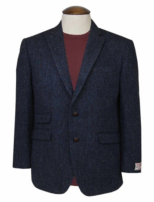 Blue Harris Tweed Benbecula Jacket Short