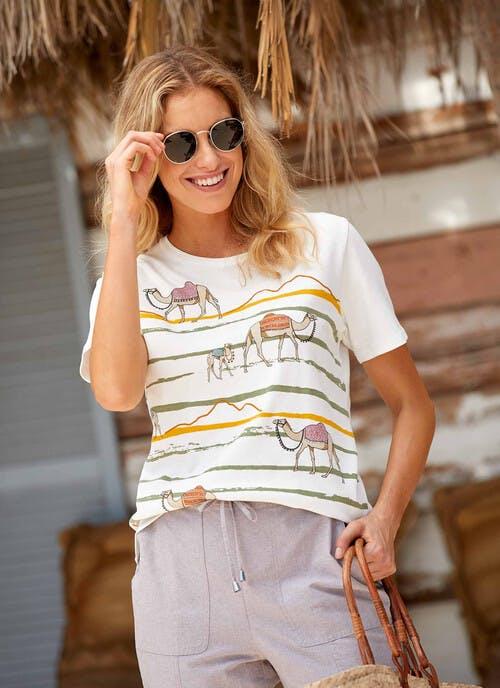 Ivory Camel Print T Shirt