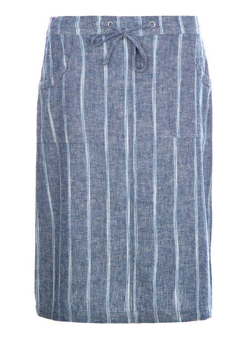 Denim Stripe Pull On Skirt