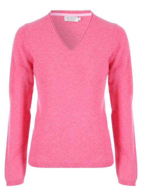 Pink Cashmere V Neck Jumper