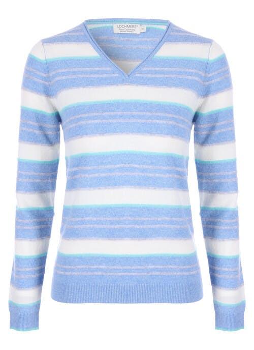 Blue Cashmere Stripe Jumper
