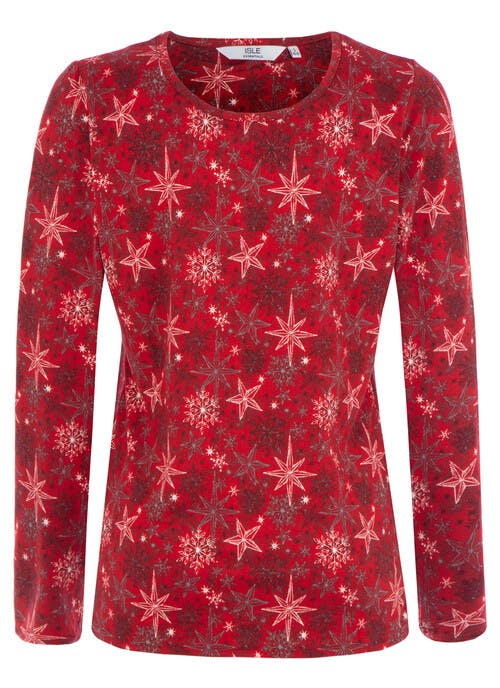 Red Snowflake Top