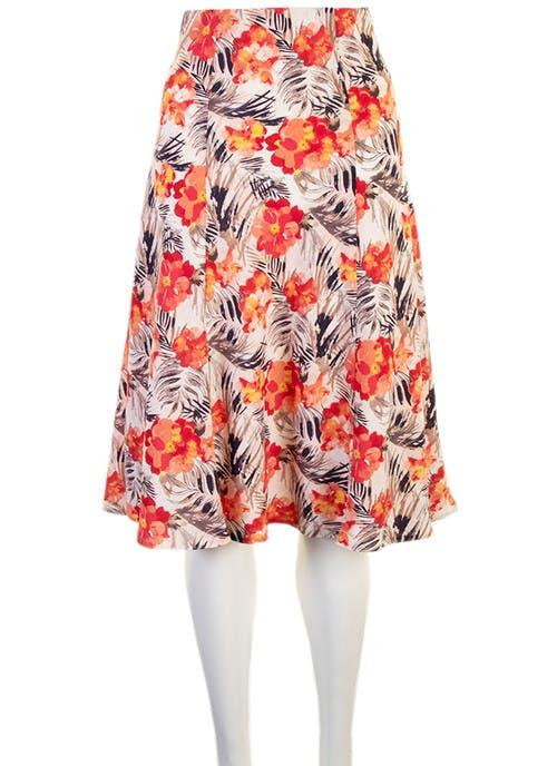 "Coral Print Skirt 27"""