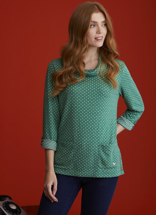Green Spot and Stripe Top