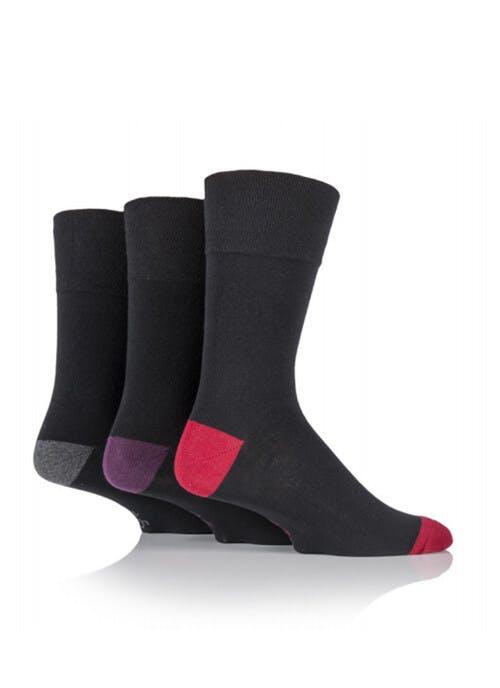 Gentle Grip Mens  3 Pack Black Heel Toe