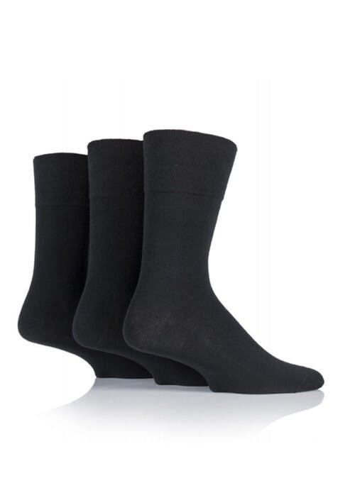 Mens Black 3 Pack Diabetic Socks
