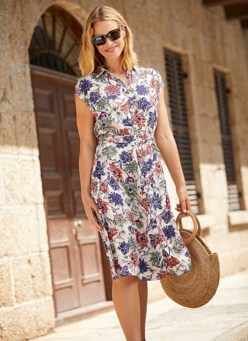 Stone Jacquard Print Dress