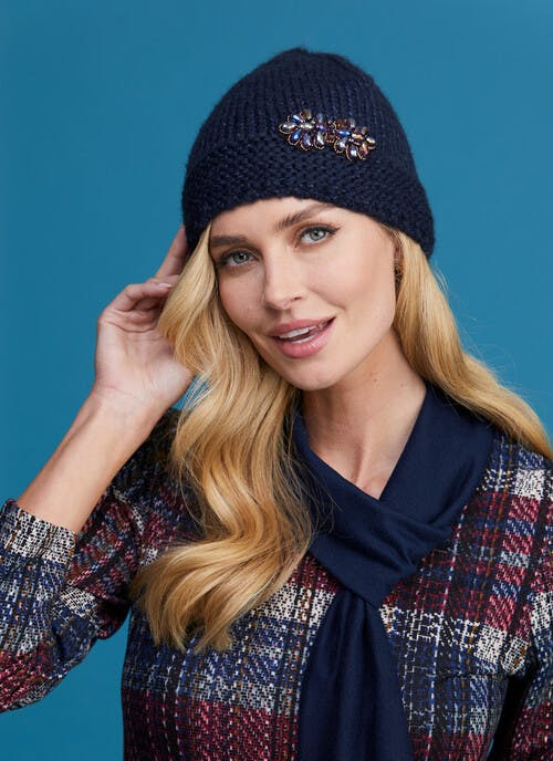 Jewel Trim Knitted Hat