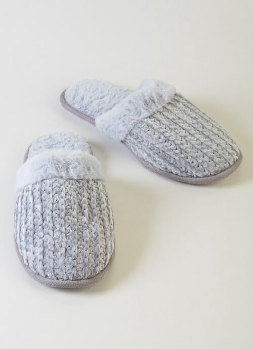 Fur Lined Grey Cable Knit Mule Slippers
