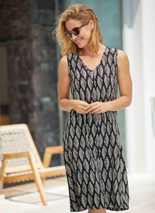 Black Leaf Midi Dress