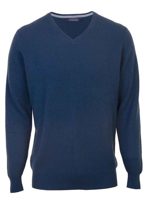 Blue Cashmere V Neck Jumper