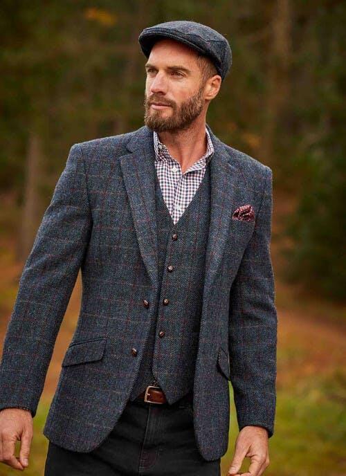 Blue Harris Tweed Skye Jacket Regular